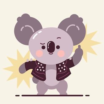 Schattige koala met middelvinger zweren