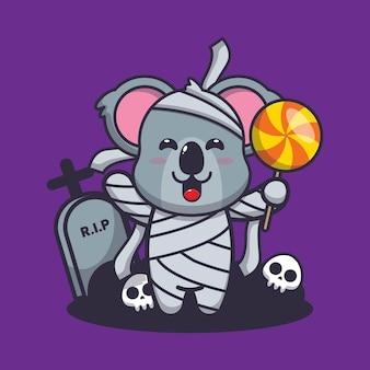 Schattige koala met mummie kostuum helloween schattige halloween cartoon vectorillustratie