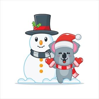 Schattige koala met sneeuwpop leuke kerst cartoon afbeelding