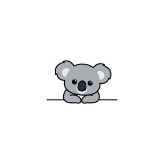 Schattige koala over muur cartoon