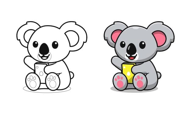 Schattige koala spelen telefoon cartoon kleurplaten voor kinderen