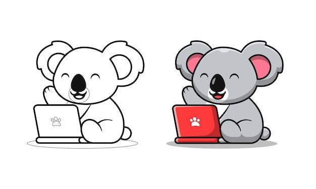 Schattige koala spelende laptop cartoon kleurplaten voor kinderen