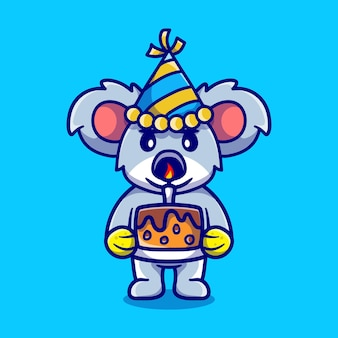 Schattige koala viert gelukkig nieuwjaar of verjaardag