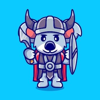 Schattige koala viking met bijl en schild