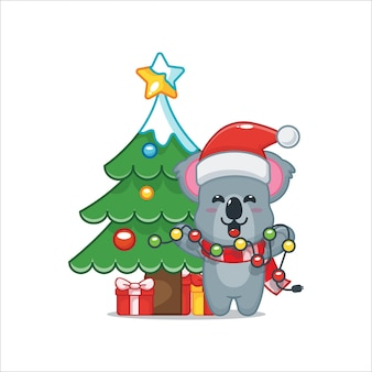 Schattige koala wil kerstlicht repareren leuke kerst cartoon afbeelding