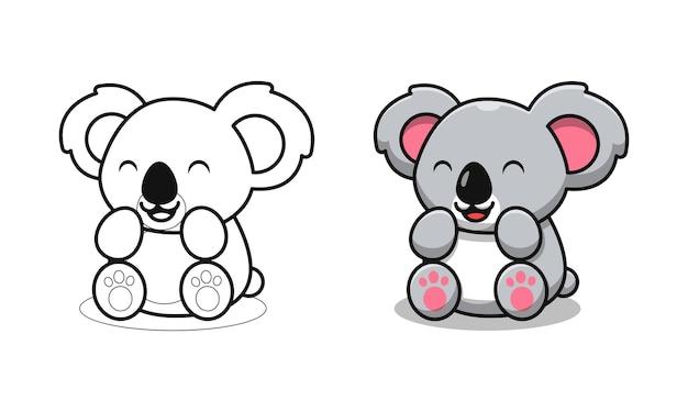 Schattige koala zit cartoon kleurplaten voor kinderen