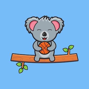 Schattige koala zittend op een tak met basketbal cartoon pictogram illustratie. ontwerp geïsoleerde platte cartoonstijl