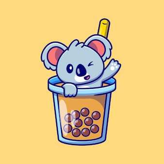 Schattige koala zwaaien in boba milk tea cup cartoon