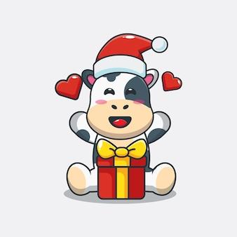 Schattige koe blij met kerstcadeau leuke kerst cartoon illustratie