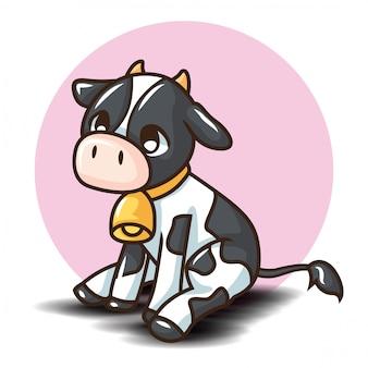 Schattige koe cartoon charactor. dierlijk beeldverhaalconcept.