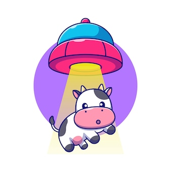 Schattige koe gezogen in ufo-ruimtevaartuig