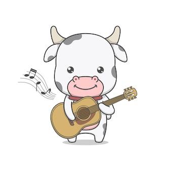 Schattige koe karakter gitaar spelen