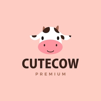 Schattige koe logo pictogram illustratie