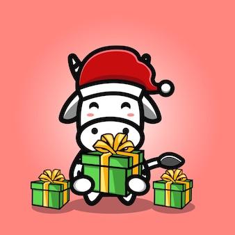 Schattige koe met cadeau-cartoon