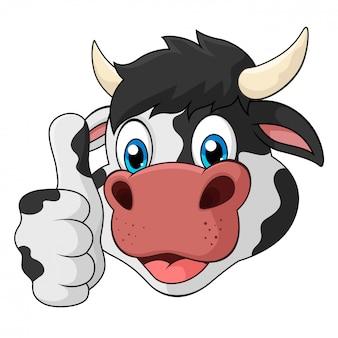 Schattige koe met duim omhoog cartoon