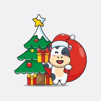 Schattige koe met kerstcadeau leuke kerst cartoon illustratie
