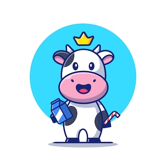 Schattige koe met melkbox en stro cartoon pictogram illustratie. dierlijk voedsel pictogram concept geïsoleerd. platte cartoon stijl
