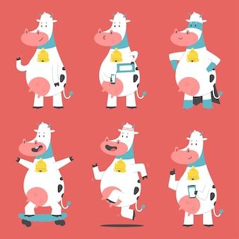 Schattige koeien stripfiguren set geïsoleerd op de achtergrond.