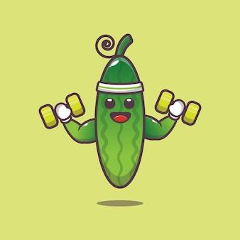 Schattige komkommer fitness karakter illustratie