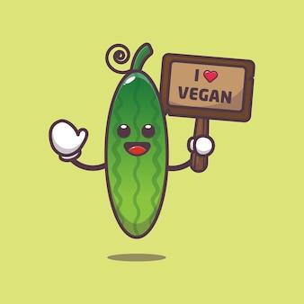 Schattige komkommer met liefde veganistische groet illustratie