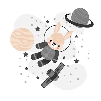 Schattige konijn astronaut cartoon doodle illustratie