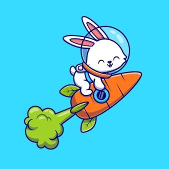 Schattige konijn astronaut vliegen met wortel raket cartoon pictogram illustratie. dierlijke technologie pictogram concept geïsoleerd. flat cartoon stijl