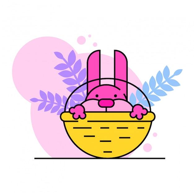 Schattige konijn karakter zitten kar, paashaas rust rieten mand, roze kruipen nieuwsgierig gluren op wit, illustratie.