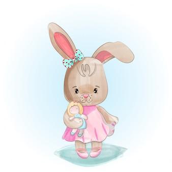 Schattige konijn meisje staat met een pop