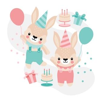 Schattige konijn verjaardag bunny cartoon doodle illustratie
