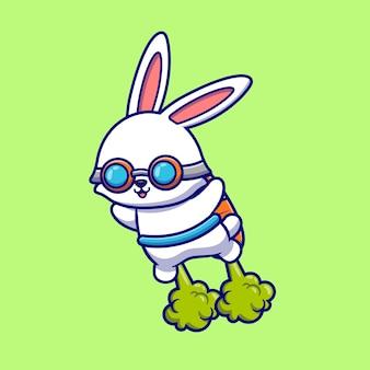 Schattige konijn vliegen met wortel raket cartoon pictogram illustratie. dierlijke technologie pictogram concept geïsoleerd. flat cartoon stijl