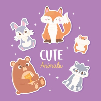 Schattige konijn vos beer hamster en wasbeer cartoon dieren stickers illustratie