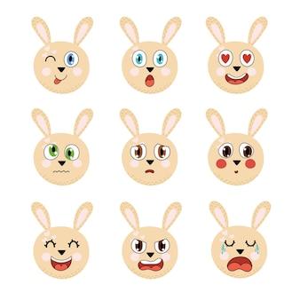 Schattige konijnemotiescollectie verschillende emotionele gezichten ingesteld met konijn leergevoel poster