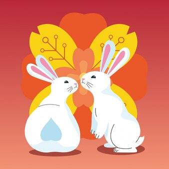 Schattige konijnen en kleurrijke bloemen