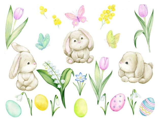 Schattige konijnen, tulpen, paaseieren, lelietje-van-dalen sneeuwklokjes, krokus, vlinders. aquarel set, op een geïsoleerde achtergrond. individuele elementen voor de paas- en voorjaarsvakantie.