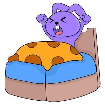 Schattige konijnen worden wakker op het bed, vectorillustratiekunst. doodle pictogram afbeelding kawaii.