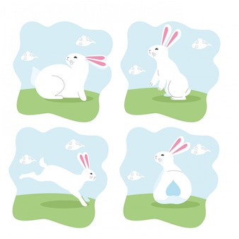 Schattige konijnen zoogdier cartoon