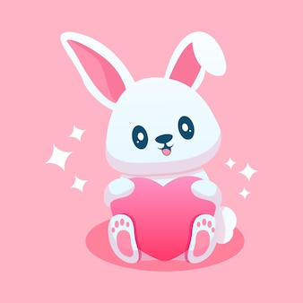 Schattige konijnencartoon met liefde