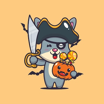 Schattige konijnenpiraten met zwaard met halloween-pompoen schattige halloween-cartoonillustratie