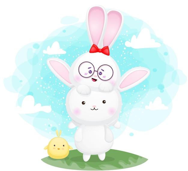 Schattige konijntje en vrienden stripfiguur premium vector