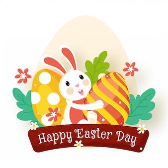 Schattige konijntje met glanzende kleurrijke ei. vrolijk pasen concept.