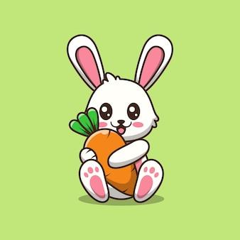 Schattige konijntje met wortel cartoon afbeelding