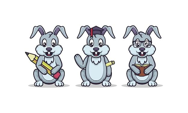 Schattige konijntje onderwijs mascotte set met witte geïsoleerde achtergrond