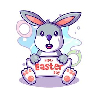 Schattige konijntje zegt paasdag tot paasdag vectorillustratie pictogram