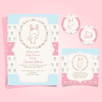 Schattige konijntjes baby shower sjabloon uitnodigingskaart en stickers