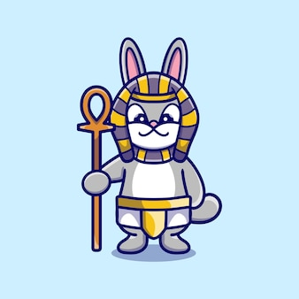 Schattige konijntjes farao met een stok