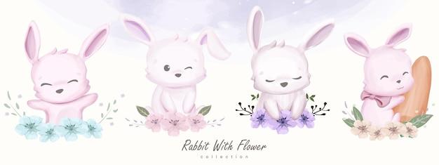 Schattige konijntjes met bloem collectie set illustratie