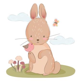 Schattige konijntjesillustratie voor kinderdagverblijfart