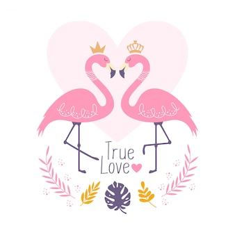 Schattige koning en koningin flamingo karakter.