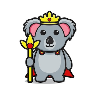 Schattige koning koala mascotte karakter cartoon vector pictogram illustratie ontwerp geïsoleerd op wit