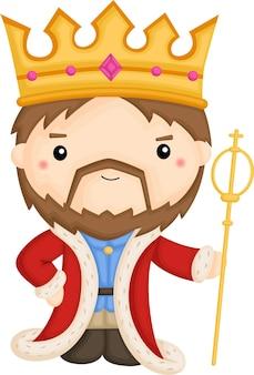 Schattige koning met zijn gewaad